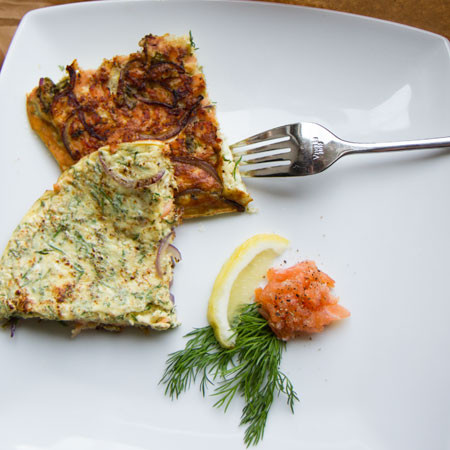 Smoled Salmon, Dill, and Red Onion Omelette