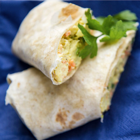 Scrambled egg and smoked salmon tortilla wrap - Love the Kitchen
