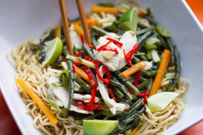 Thai Chicken and Coconut Noodle Soup