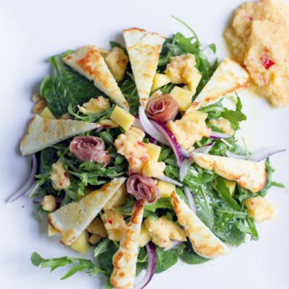 Grilled Halloumi, Chicory, and Mango Salad