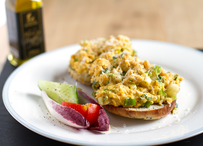 Scrambled eggs with spring onion and truffle oil